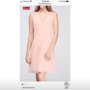 David s Bridal Dresses - Short Chiffon V-Neck Dress with Lace Back 3abe3ba66